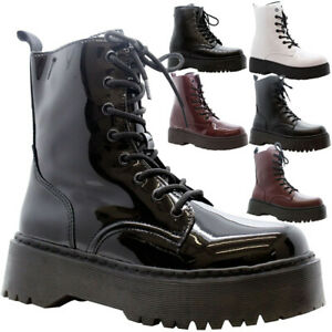 Womens-Ankle-Chunky-Platform-Shoes-Ladies-Lace-Up-Zip-Goth-Punk-Shiny-Boots-Size