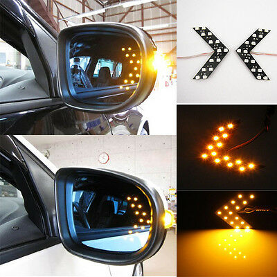 Amber 14 LED 1210 SMD Arrow Panels for Car Side Mirror Turn Lights A Pair UK DS2