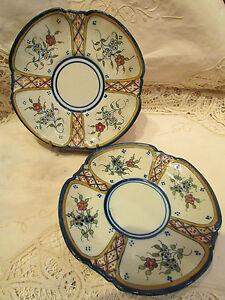 2 anciennes assiettes plats faience quimper HB breton fleurs BKaewTpe-09152526-363060911