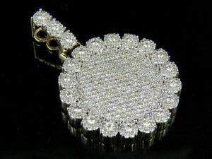 1-50Ct-Round-Cut-Diamond-Cluster-Medallion-Pendant-Charm-14K-Yellow-Gold-Finish