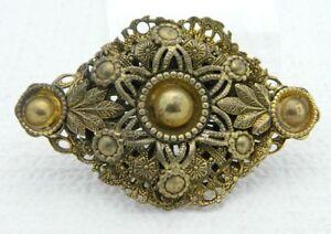 Vintage-Gold-Tone-Art-Nouveau-Ornate-Filigree-Floral-Medallion-Pin-Brooch