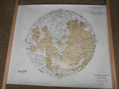 Patrick Moore astronomer huge hand signed moon map COA UACC /& AFTAL Dealer