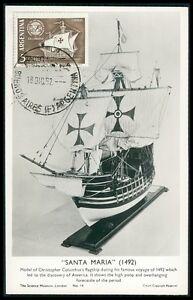 à Condition De Argentina Mk 1962 Navires Columbus Santa Maria Carte Maximum Card Mc Cm Be32-afficher Le Titre D'origine Finement Traité
