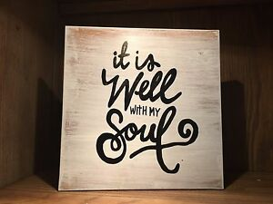 Details About It Is Well With My Soul Yogi Inspirational Wood Sign Rustic Home Decor