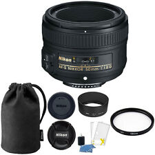 Nikon AF-S 50mm f/1.8G Lens w/ Caps, Pouch, 58mm UV Filter & Cleaning Essentials