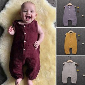 Summer-Unisex-Infant-Baby-Boy-amp-Girl-Ruffles-Solid-Vest-Romper-Jumpsuit-Clothes-AU