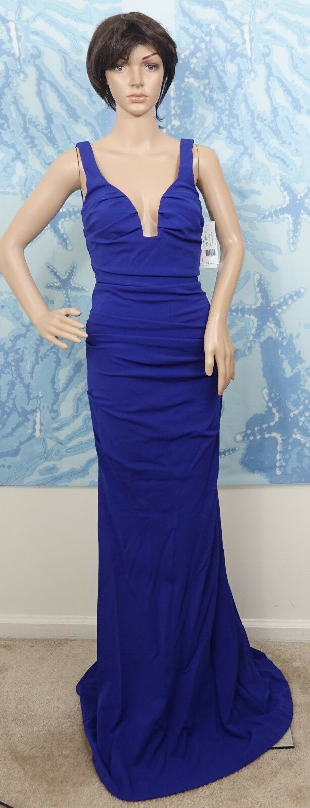 Nicole Miller Plunge Structured gathered berry or royal royal royal Jersey Gown dress,4 or 6 7eec0d