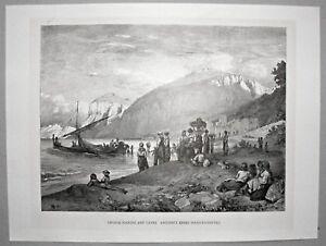 Capri-Italien-Italy-Marina-Marktschiff-Stich-Holzstich-um-1885