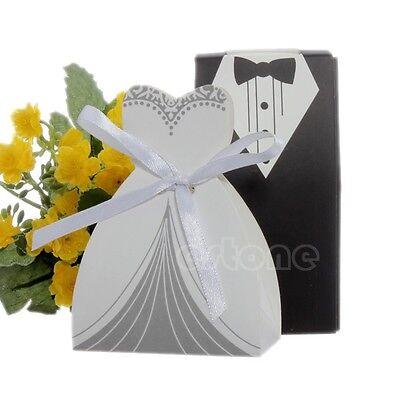 100pcs Tuxedo & Dress Groom Bridal Wedding Party Favor Gift Ribbon Candy Boxes