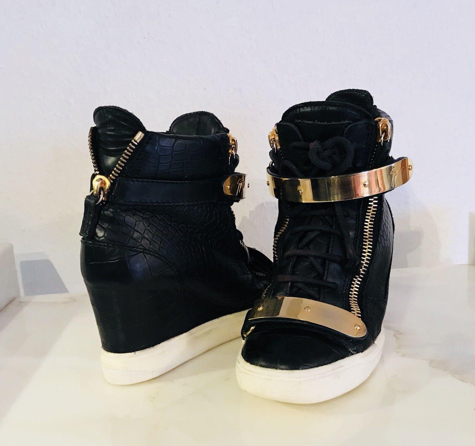 Guiseppe Zanotti Sneaker Leder Kroko Optik mit Rechnung Größe 37