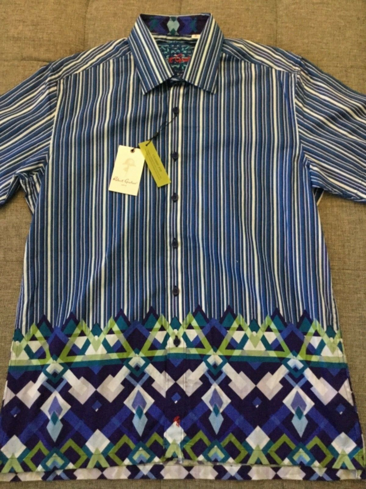 "2a66ed98 ROBERT GRAHAM Amble"" bluee & White STRIPES S S Cotton SHIRT sz M NWT Ret"