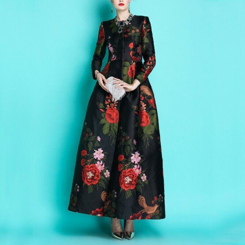 Luxury Women's Date Jacquard Trench Coat Full Length Windbreaker Jacket Cocktail