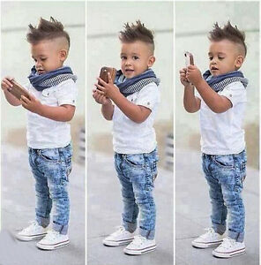 52646686402b 3PCS Baby Boys Short Sleeve White Shirt + Scarf + Jeans Set Kids ...
