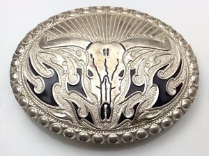 Western-Type-Bull-Belt-Buckle-Silver-Plated-C805
