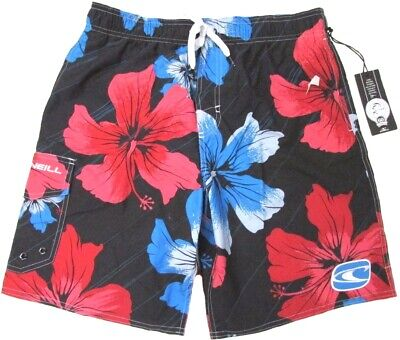 O/'NEILL Men/'s Keanu SWIMMING TRUNKS Swim Board Shorts BLACK Hibiscus Blue Red