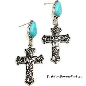 Western-Cowgirl-Bohemian-Antique-Gothic-Cross-Heart-Turquoise-Silver-Earring-NEW