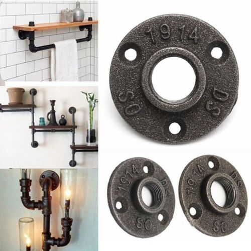 """3//4/"""" Malleable Threaded Floor Flange Iron Pipe Fittings Wall Mount Black"""