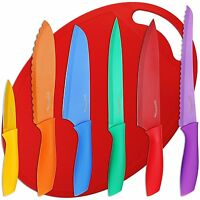 Utopia Kitchen 7 Piece Color-coded Non-stick Knife Set - (6 Knives Plus Cutting