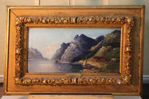 Oil-PAINTINGS-fjords-Crest-Karl-Merchant-1843-1905