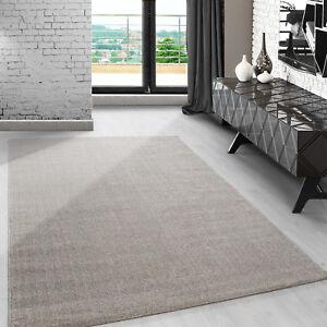 Das Bild Wird Geladen Modern  Kurzflor Teppich Einfarbig Meliert Fuer Wohnzimmer Esszimmer