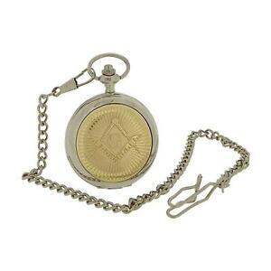Boxx-Uomo-Bicolore-Massonico-Massoneria-Design-Cover-Tasca-Orologio-35-6cm-Chain