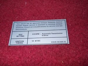 1978 LINCOLN CONTINENTAL TOWN CAR MARK V 460 ENGINE EMISSIONS DECAL STICKER NEW