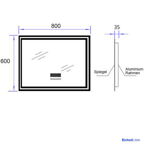 Badspiegel LED Bluetooth Touch Badezimmerspiegel Mit Beleuchtung 80x60cm Spiegel