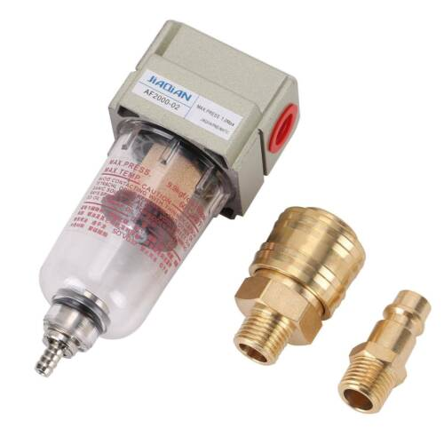 Druckluft Filter Öl-//Wasserabscheider 1//4 Zoll Schnellkupplung Für Kompressor