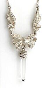 Jade-Obelisk-Ornate-Bow-Pendant-Sterling-Silver-Choker-Necklace-16-5-034-Vintage