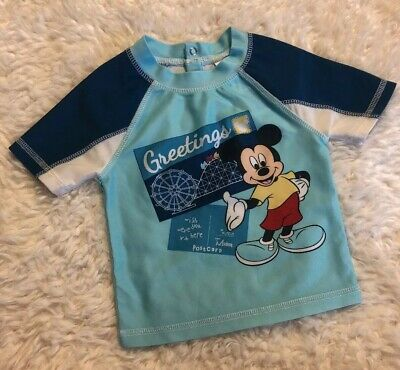 NEW Old Navy Boys 12-18 18-24 MONTHS Mickey Mouse Rash Guard Swim Shirt #223918