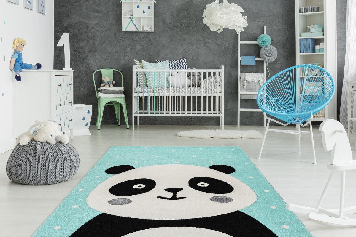 Kinderteppich Bunt Bunt Bunt Kinderzimmer Teppich Hase Bär Pinguin Einhorn Grau Rosa Grün   Kostengünstiger  2905bd