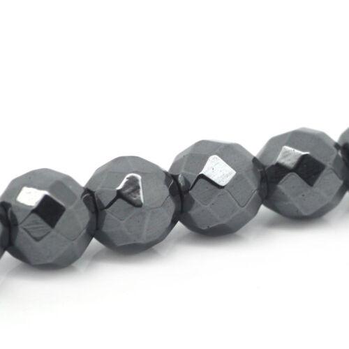 1 Strang Hämatit Perlen 6mm Kugeln Glänzend Grau 70 Stück Schmuck Basteln Glanz