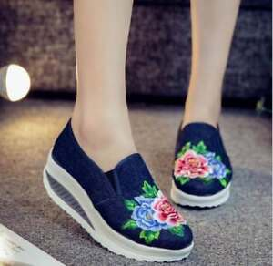 Women Embroidery Floral Canvas Sneakers Hidden Heel Boat Shoes Sports New Ths01