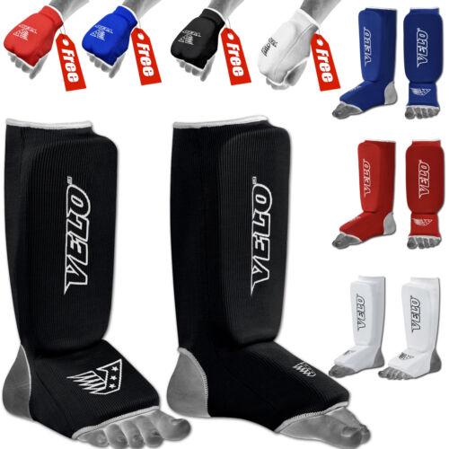 VELO Shin Instep Pads Kick Boxing MMA Leg Foot Guards Muay Thai Protector Arts