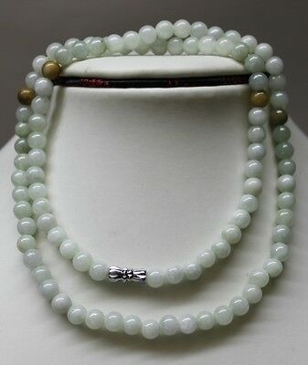 """100/% Natural Untreated /""""A/"""" Beautiful Chinese Jadeite Jade Beads Necklace 6mm 21/"""""""