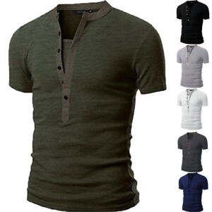 Men-039-s-Slim-Fit-V-Neck-Short-Sleeve-Muscle-Tee-T-shirts-Casual-Plain-Tops-Shirts