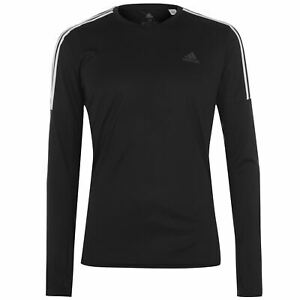 adidas-Mens-3-Stripe-Long-Sleeve-T-Shirt-Performance-Top-Short-Crew-Neck