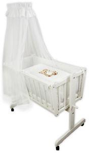 Babybett Kinderbett Bär mit Schleife 120x60 Matratze Holz Weiß Neu
