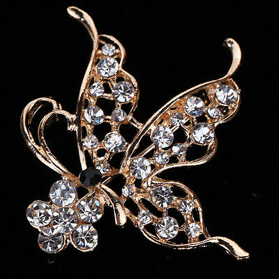 Cute Rose Gold Black Eye Butterfly Inlay Shiny Crystal Brooch Pin Gift Lady