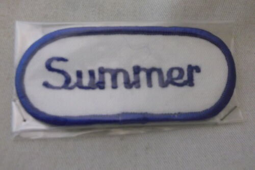 SUMMER USED EMBROIDERED  SEW ON NAME PATCH TAG OVAL BLUE ON WHITE