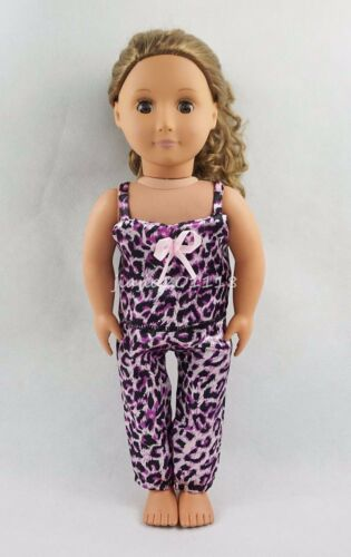 Fit For 18''American Girl Purple Leopard Sling Shirt With Pants Doll Clothes New