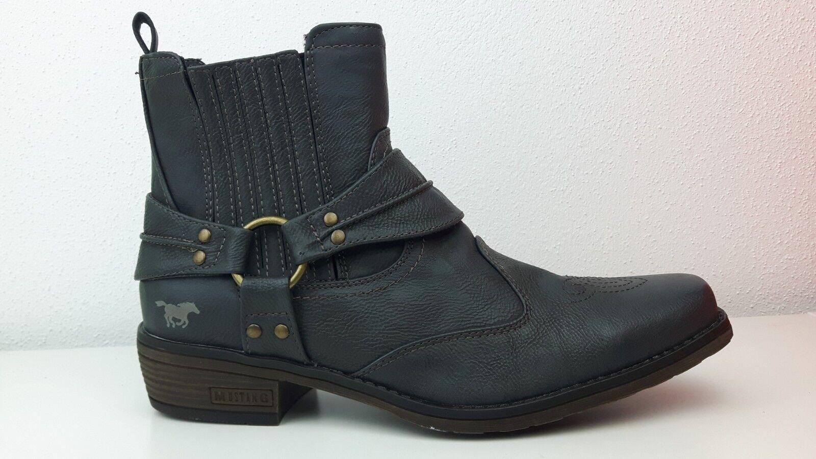4116-501-259 Mustang Herren Schuh Cowboystiefel Graphit Biker-Stiefel Stiefel