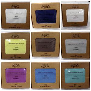 3-Piece-100-Organic-Cotton-Bed-Sheet-Set-600-Thread-15-039-039-Deep-Pocket-Twin-Size