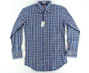 Peter-Millar-Mens-Dress-Shirt-Long-Sleeve-Button-Prem-Blue-Plaid-Check-Small-S