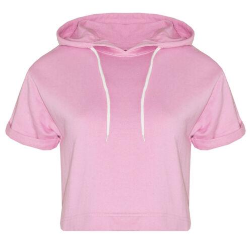 Womens Ladies Hoodie Short Sleeve Crop Top Hooded Jogging Gym Exercise Outerwear