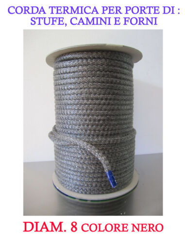 FIRE ROPE//JOINT//DICHTSCHNUR DIAM 8 FOR WOOD STOVES AND FIREPLACES RES UP TO 550°