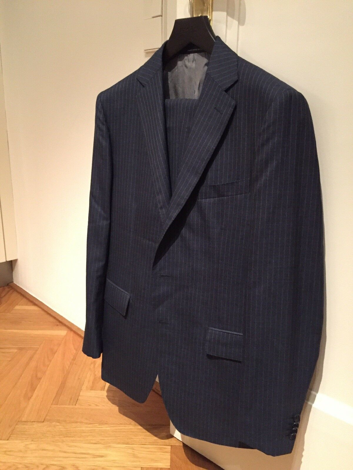 CARUSO, hand made in , Kreidestreifen-Anzug, Gr. 50, blau