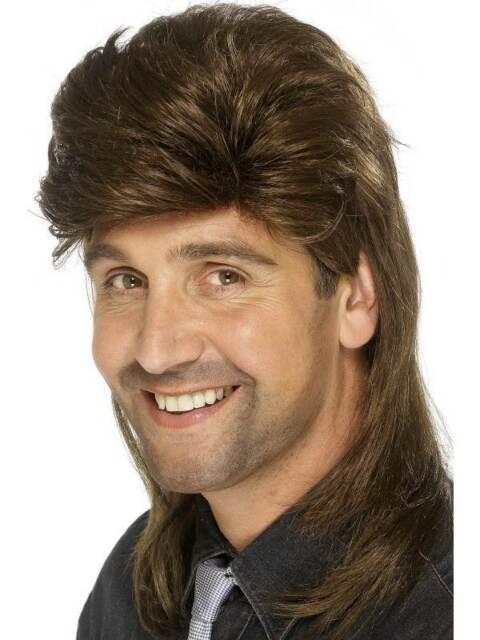 Short Brown Mullet Wig, Jason Wig, Fancy Dress Accessory. #CA