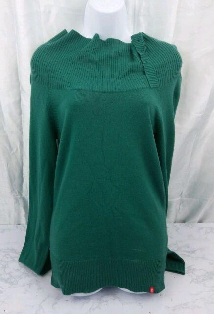 1d76050b8b081e EDC Esprit Jumper Long Sleeve Sweater Womens Large Green Polo Neck Turtle  Neck L