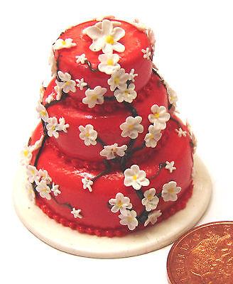 1:12 Scala Bianco & Rosso 3 Piani Torta Nuziale Casa Delle Bambole Miniatura Accessorio Zk-mostra Il Titolo Originale Aspetto Estetico